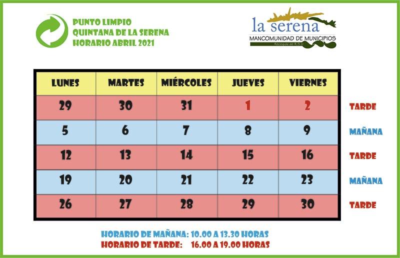 Horarios abril 2021 Punto Limpio Quintana de la Serena