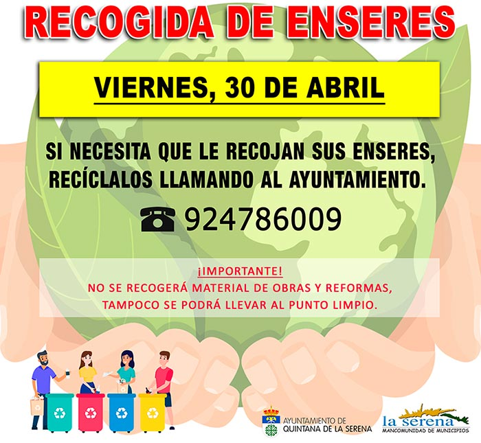 Recogida de enseres mes de abril en Quintana de la Serena