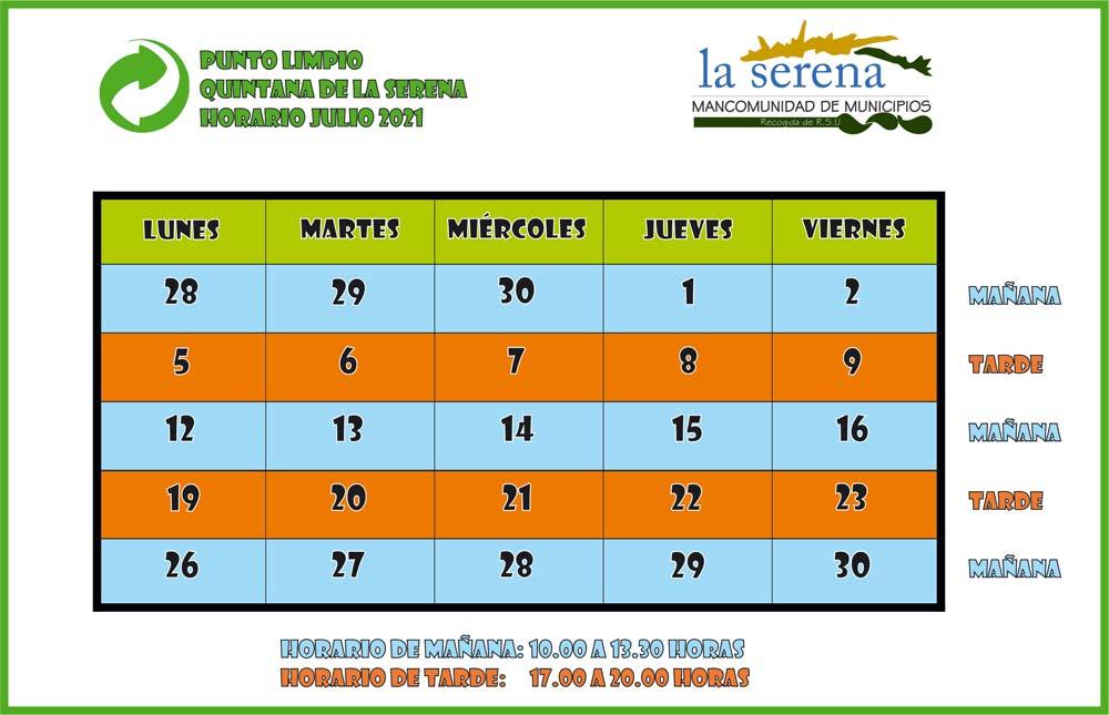 Horario Punto Limpio Quintana de la Serena. Julio 2021